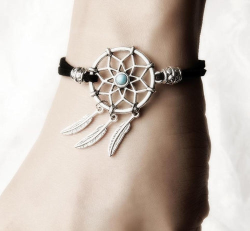 Mini Dreamcatcher Bracelet Handmade With Metal Feather 1pc