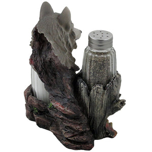 Decorative Gray Wolf Glass Salt and Pepper Shaker Set with Holder Figurine
