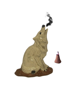 Majestic Howling Smoking Wolf Totem Statue Bust Cone Incense Burner