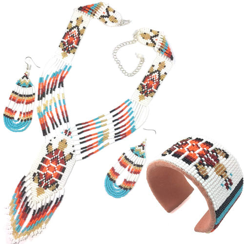 Native Style Beaded Jewelry Set Necklace Earrings Bracelet Handmade (White)