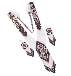 Handmade  Native Style Seed Beaded Long Necklace Earring Set