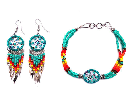 Handmade Native American Style Tribal Dream Catcher Seed Jewelry Set