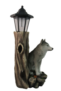 Spirit Wolf Outdoor Solar Lantern Statue  Lawn Garden Porch or Patio Wildlife Statue Decor