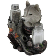 Load image into Gallery viewer, Decorative Gray Wolf Glass Salt and Pepper Shaker Set with Holder Figurine