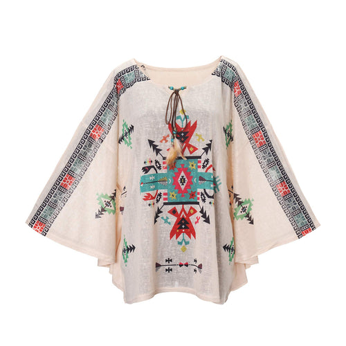 Women's Bohemian Print Half Batwing Sleeve Tunic Blouse Cover Up for Swimwear Poncho Top