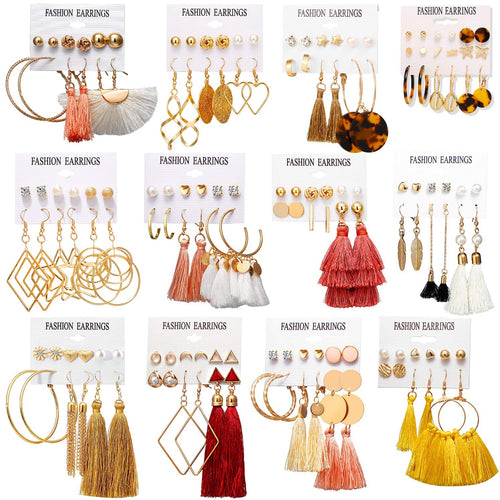 75 Pairs Colorful Earrings with Tassel Earrings Layered Ball Dangle Hoop Stud Jacket Earrings