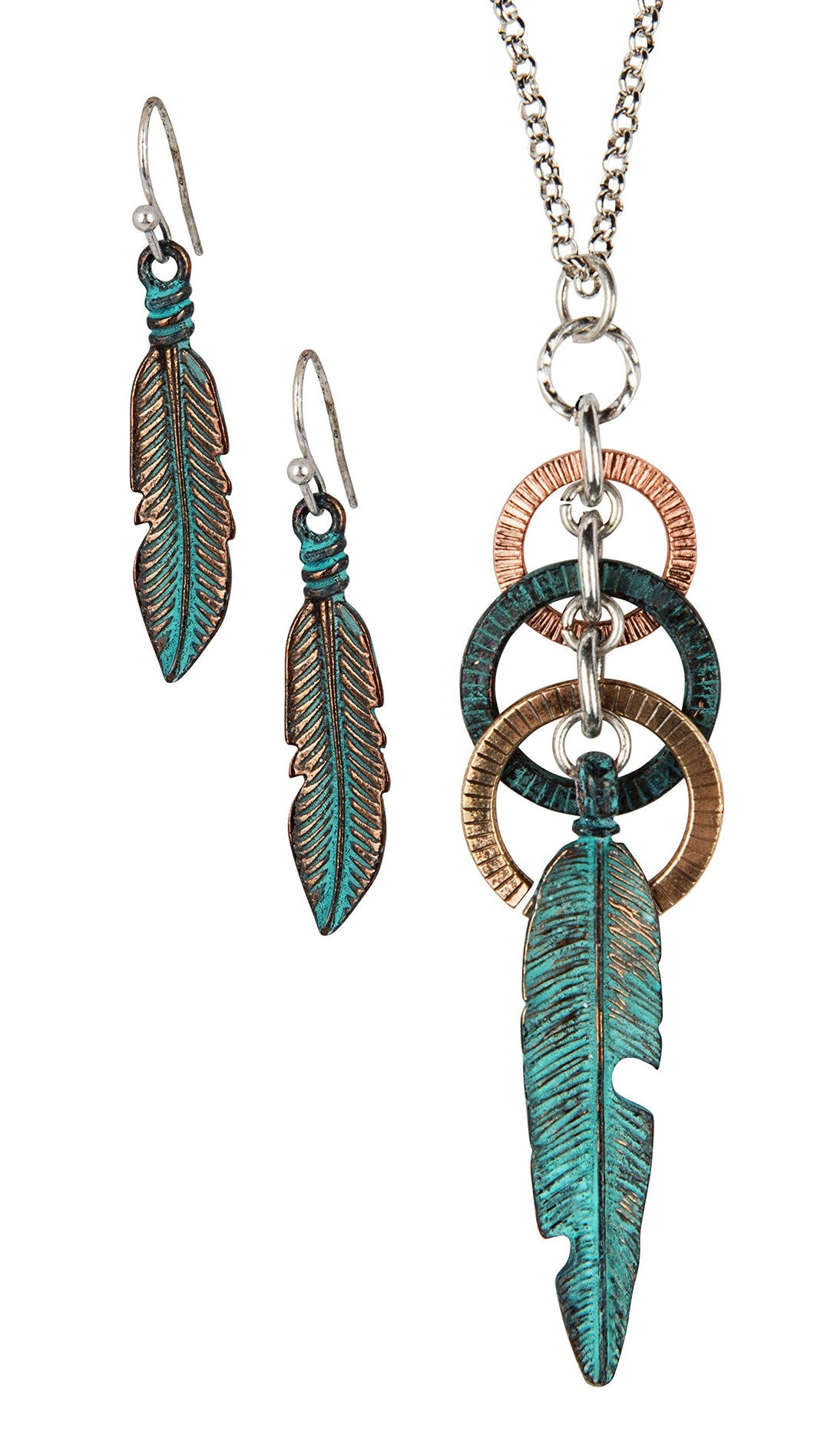 Feather Circle Long Necklace