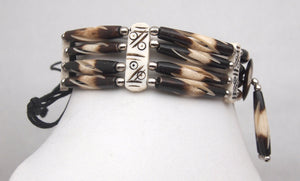 Choker Necklace Four Row Brown/White Striped Bone Hairpipe