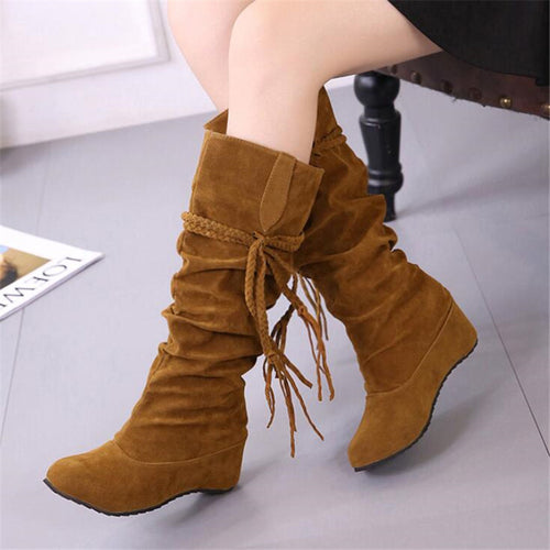 Winter Knee High Boots Fringe Faux Suede