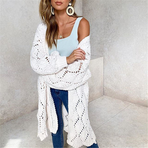 Plus Size  Knitted Patchwork Long Sleeve V-Neck Sweater Cardigan