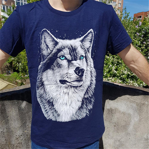 Wolf head T-shirt man round collar short sleeve T-shirt men fashion t shirt short sleeves