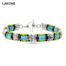 Load image into Gallery viewer, Beaded Wrap Bracelet Turquoises Leather Wrap