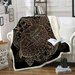 Golden Tortoise Velvet Plush Throw Blanket