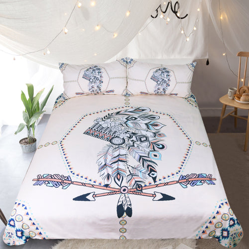 Arrow Printed Indian Feathers Bedding Set