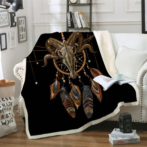 Indian Skull Plush Throw Blanket Dreamcatcher