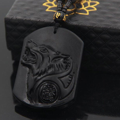 Black Obsidian Wolf Necklace Carving Wolf Head Pendant With Chain