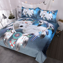 Load image into Gallery viewer, Wolves Couple Bedding Set Native American Wolf Duvet Cover Tribal Animal Galaxy Bed Set Heart Dreamcatcher Bedspread
