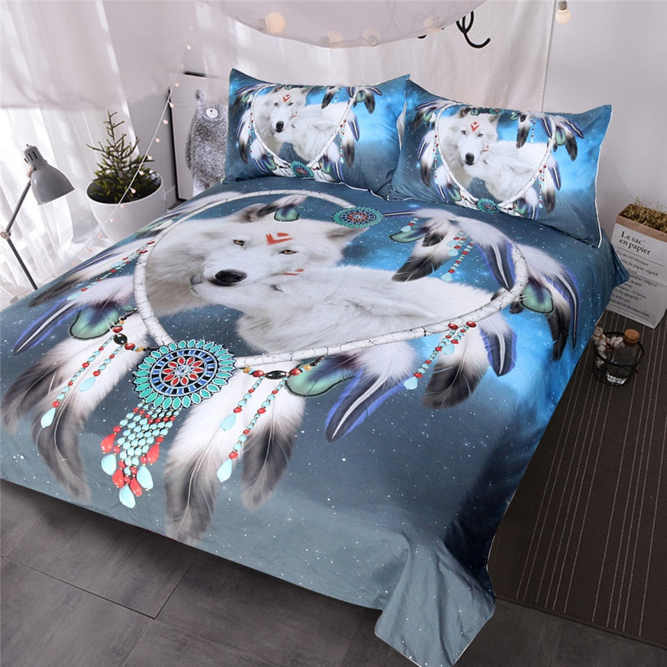 Wolves Couple Bedding Set Native American Wolf Duvet Cover Tribal Animal Galaxy Bed Set Heart Dreamcatcher Bedspread
