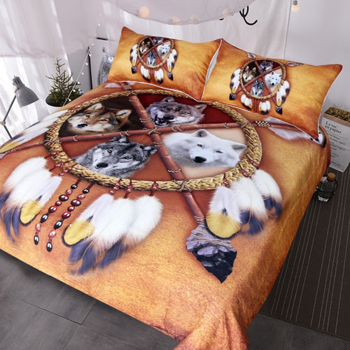3D Wolves Dreamcatcher Bedding Set  Bed Cover 3pcs
