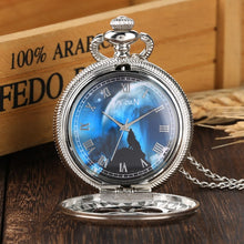 Load image into Gallery viewer, Blue Wolf Dial Quartz Pocket Watch Fashion Night Charm Jewelry Necklace Chain FOB Silver Clock as Pendant Gifts for Men Women