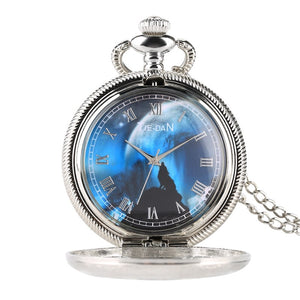 Blue Wolf Dial Quartz Pocket Watch Fashion Night Charm Jewelry Necklace Chain FOB Silver Clock as Pendant Gifts for Men Women