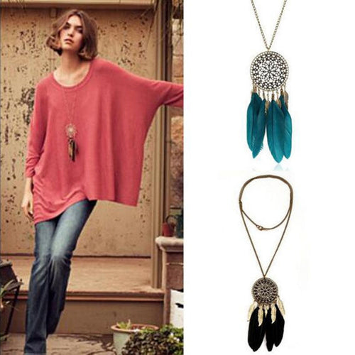 Feather Pendant Necklace Alloy Chain Coin Ethnic Indian Style Long Sweater Dream Catcher