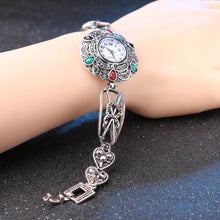 Load image into Gallery viewer, Crystal Silver Heart Flower Feather Metal Watch Bracelets