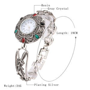 Crystal Silver Heart Flower Feather Metal Watch Bracelets