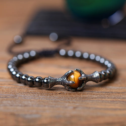Natural Stone bracelets 6mm Hematite Bead with Eagle Braided Rope Adjustable male Bracelet