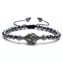 Load image into Gallery viewer, Natural Stone bracelets 6mm Hematite Bead with Eagle Braided Rope Adjustable male Bracelet