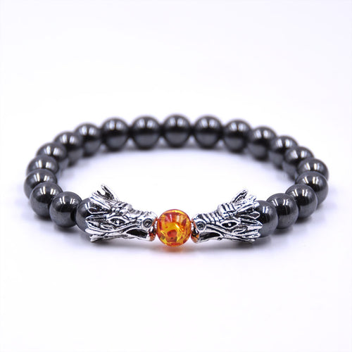 Bracelet Men Bracelets For Women  Mens Jewelry Dragon  8mm Stone Beads Elastic Braslet