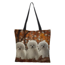 Load image into Gallery viewer, Double-sided printing Snow Wolf  Large Shopping Bag Tote  Handbag