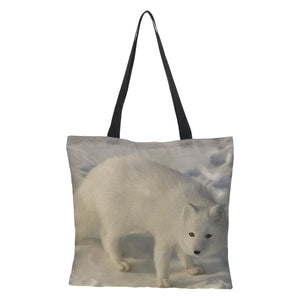 Double-sided printing Snow Wolf  Large Shopping Bag Tote  Handbag