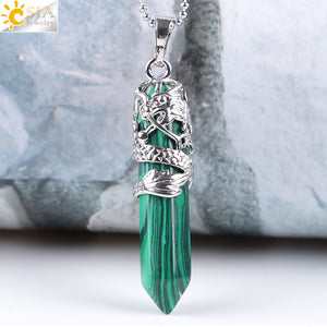 Dragon Tribe Totem Natural Stone Hexagonal Crystal Quartz Prism Ethnic Pendant Necklace Hanging Jewelry for Women Men E853