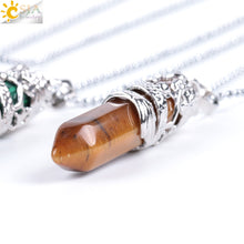 Load image into Gallery viewer, Dragon Tribe Totem Natural Stone Hexagonal Crystal Quartz Prism Ethnic Pendant Necklace Hanging Jewelry for Women Men E853