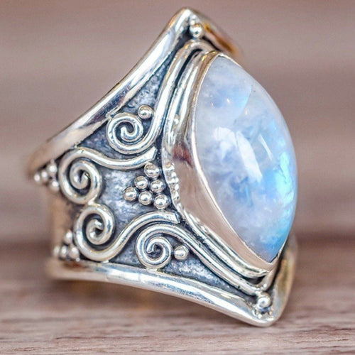 Natural Moonstone Silver Ring Gothic Men Women Signet Crescent Black Rings Ethnic Tribe Vintage Boho