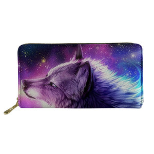 Wolf Print Wallet Credit Card Holder
