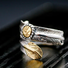 Load image into Gallery viewer, Native Indian Jewelry Navajo Signed Feather Open Band Ring