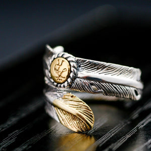 Native Indian Jewelry Navajo Signed Feather Open Band Ring