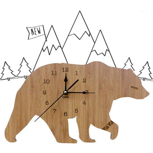 Creative Polar Bear Wooden Mute Wall Clock Living Room Bedroom Home Decoration Wall decoration