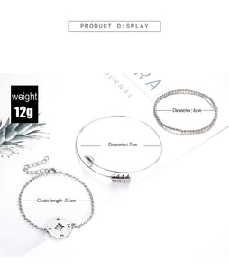 Vintage compass Charm Bracelets Bangles For Women Fashion Silver Color Boho Chain Bracelets Sets Jewelry Party Gifts