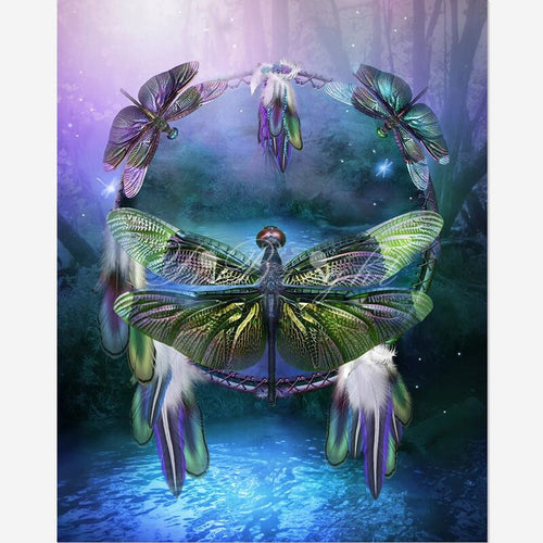 DIY Diamond Painting Spirit Of The Dragon fly Cross Stitch Needlework