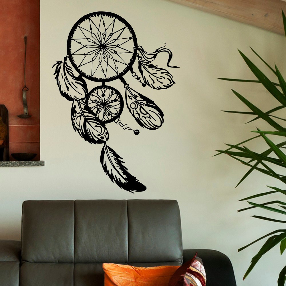 Dream Catcher Wall Decal- Gold Dreamcatcher Wall Stickers Hippie Native America Boho Bohemian Bedroom Wall Art Home Decor