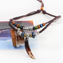 Load image into Gallery viewer, Wolf Tooth Necklace Braided Leather Rope Multi Layer Tibetan Beads Neckless