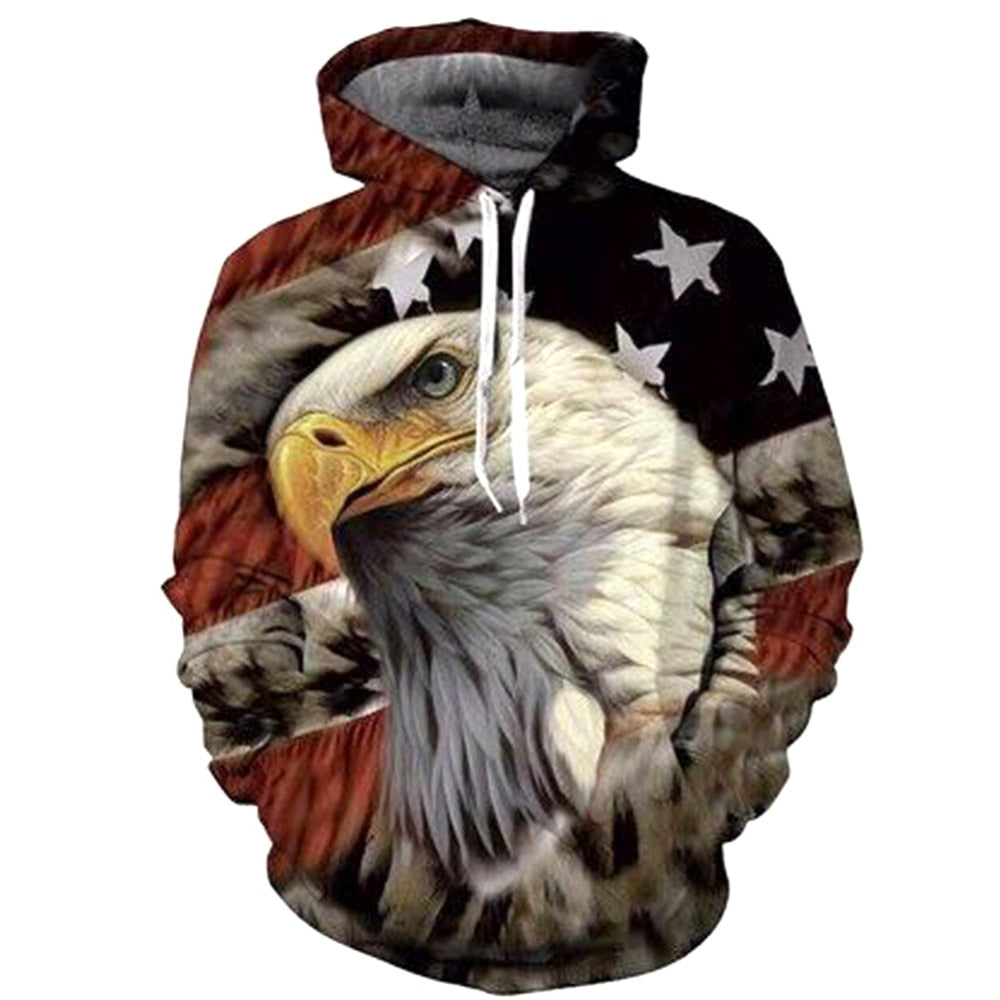 Eagle Print 3D Hoodies Men Sweatshirt Fashion American Flag Hooded Sweats  Pullover