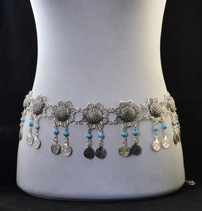 Silver Metal Belt Body Chains Boho Indian Sexy Coin Tassel Beads Stone Belly Dance Waist Chain Turk Tribal Jewelry