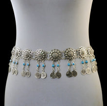 Load image into Gallery viewer, Silver Metal Belt Body Chains Boho Indian Sexy Coin Tassel Beads Stone Belly Dance Waist Chain Turk Tribal Jewelry