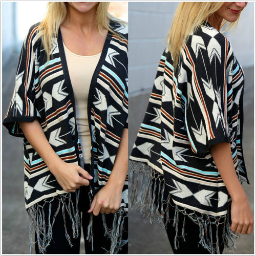 Tassel Stitching Shawl Loose Bat-type Coat Chiffon Shirt