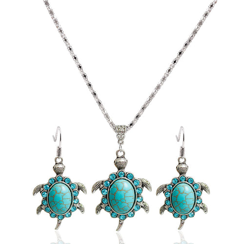 Turtle Shaped Green Necklace and Earrings Jewelry Set