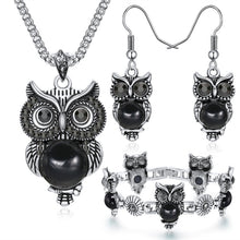 Load image into Gallery viewer, Owl  Necklace & Drop Earrings Charm Bracelet
